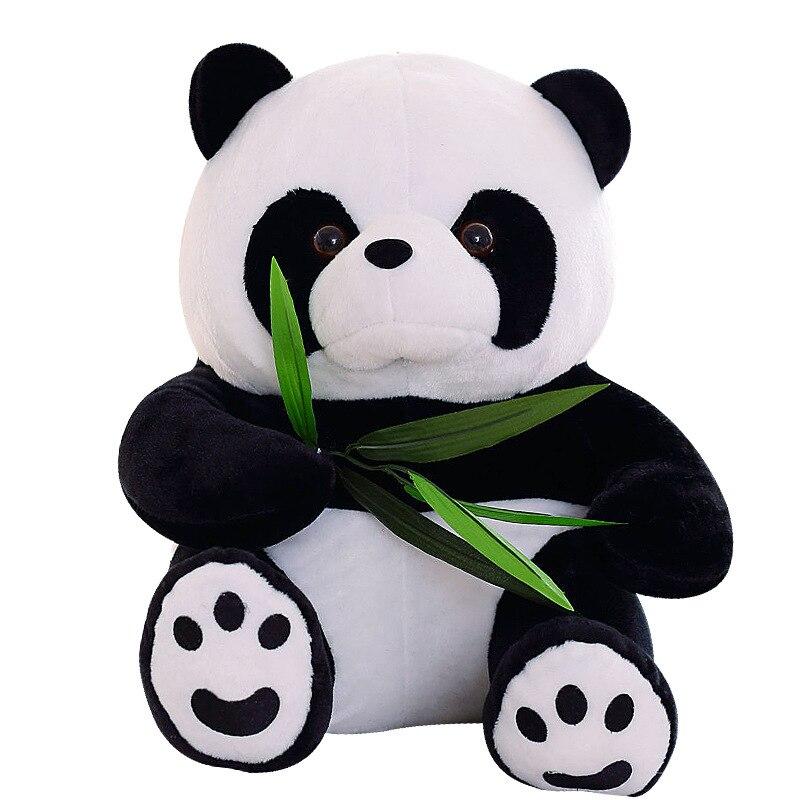9-20cm Vivid Funny Panda With Bamboo Leaves Plush Toys Birthday Gift Soft Cartoon Animal Stuffed Animals Pendant Doll Kids Gifts