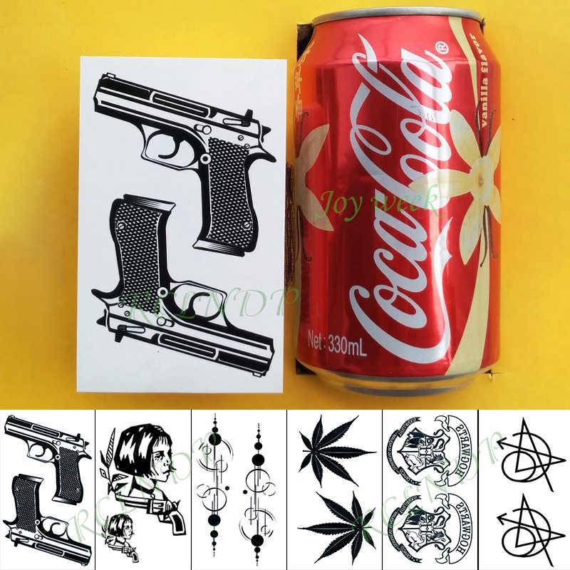 ملصق تاتو مؤقت مضاد للمياه ليون كول فتاة بندقية تاتو فلاش تاتو وشم مزيف للأطفال الرجال النساء سيدة
