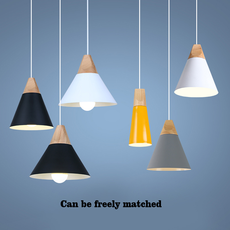 Image 4 - Luci del pendente di legno del metallo Variopinto E27 lampada a  sospensione a led 7 colori nordic design appendere le luci sala da  pranzo della decorazione della luce della corda led-in Lampade a  sospensione da Luci e illuminazione su