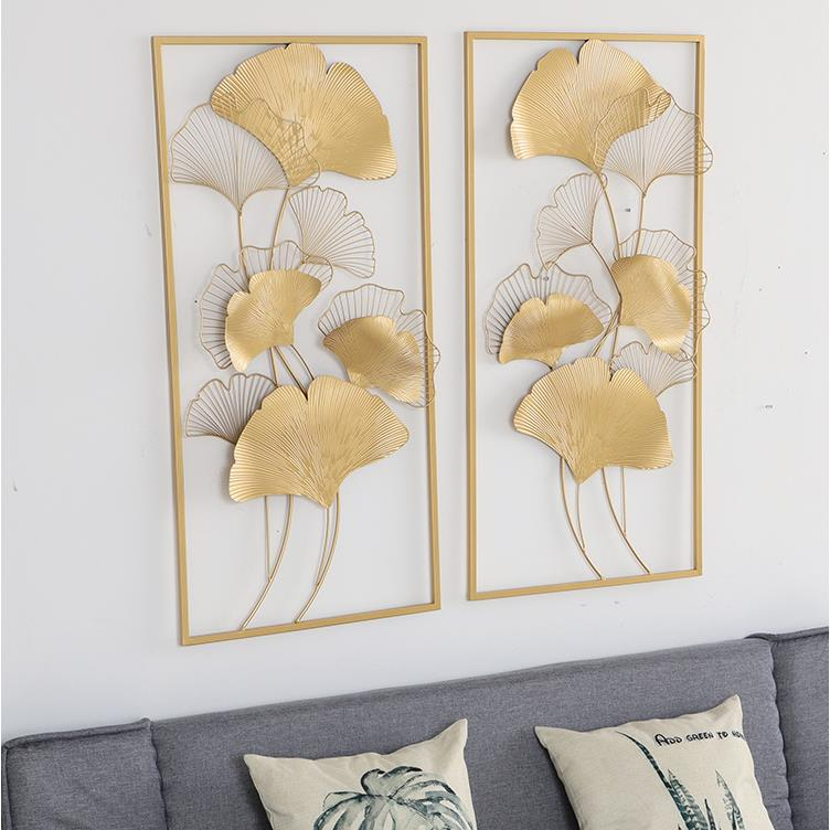 Light Luxury Ginkgo Leaf Gold Iron Arts Wall Hanging Mural Porch Hotel Cafe Bedroom Livingroom Background Home Wall Decor