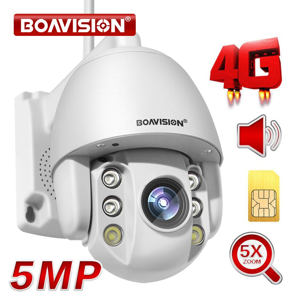 5MP 2MP SIM Card 3G 4G Wireless Mini PTZ Dome Camera  AI human Auto Tracking Outdoor 5X Zoom Two Way Audio CCTV Security Camera