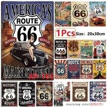 Американский Route 66 Mother Road винтажные металлические жестяные знаки для настенного искусства Декор Бар Украшение для стен дома, паба ретро металл художественный плакат