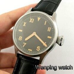Męski klasyczny luksusowy zegarek mechaniczny 43mm ciemna kawa tarcza szafirowe szkło świecące ręce ręczne nakręcanie męski zegarek