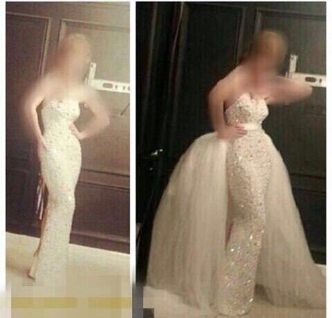 Designer Yousef Sweetheart Sleeveless Bling Bling Beaded Crystals Mermaid Wedding Dresses With Train