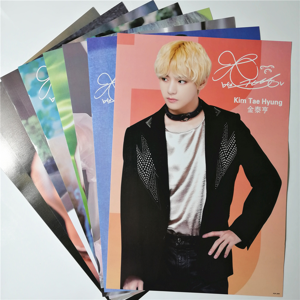 8*(42x29cm)NEW Bangtan Boys <font><b>Kim</b></font> Tae Hyung V kpop around TaeHyung Poster Wall <font><b>Stickers</b></font> Gift image