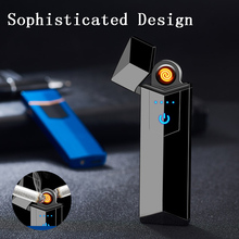 2019 New Design USB Charging Touch Screen Sensor Electronic Cigarette Lighter Flameless Rechargeable Windproof Tungsten Lighters