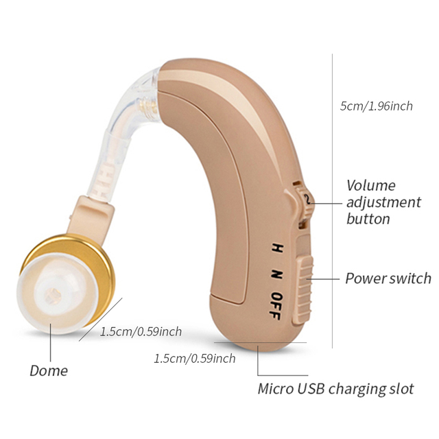 USB Rechargeable Hearing Aids Mini Ear Hearing Amplifier Adjustable Tone Hearing Aid Sound Amplifier Hearing Device for Elderly 5