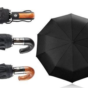 Image 1 - New British Leather Handle Umbrella Rain Women Business 3Folding Big Umbrella For Men Automatic Strong Windproof Men Umbrella