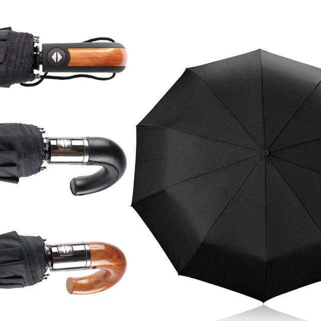 New British Leather Handle Umbrella Rain Women Business 3Folding Big Umbrella For Men Automatic Strong Windproof Men Umbrella