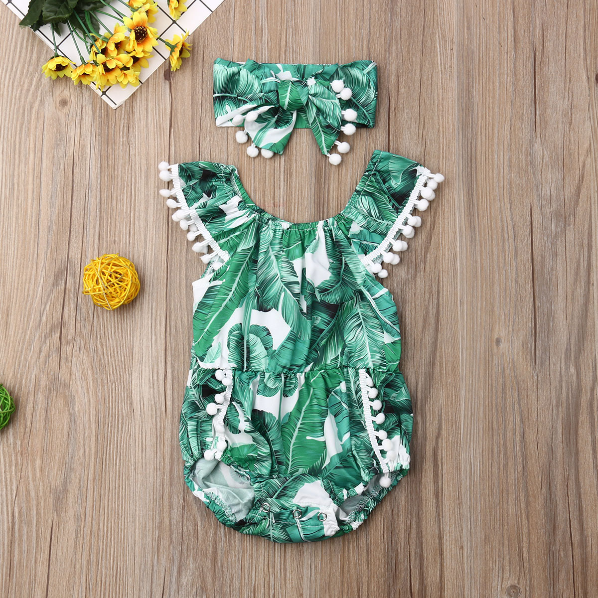 Emmababy Summer Newborn Baby Girl Clothes Sleeveless Palm Leaf Print Tassel Romper Jumpsuit Headband 2Pcs Outfits Clothes Summer