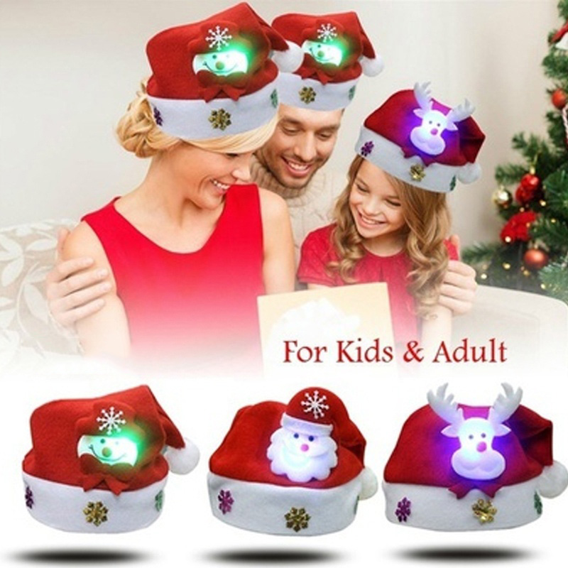 Christmas Hat LED Light Cartoon Santa Claus/Elk/Snowman Xmas Cap For Adult Kids L666