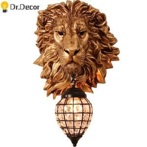 Французский роскошный настенный светильник с изображением Льва и животного, скандинавский домашний декор, настенный светильник для кухни, ...
