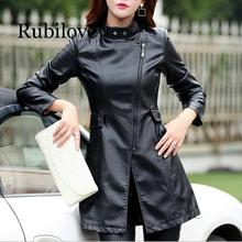 Rubilove M-5XL Leather Coat Jacket Women Fashion Slim Patchwork Long Female High Quality PU Motorcycle Autumn Winter Oute