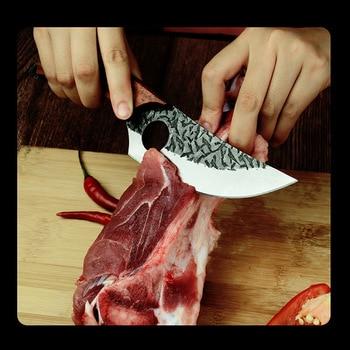 Longquan handmade beat sharp kitchen knife household kitchen set of 6 knives boning slicer butcher knife meat stand knife 4
