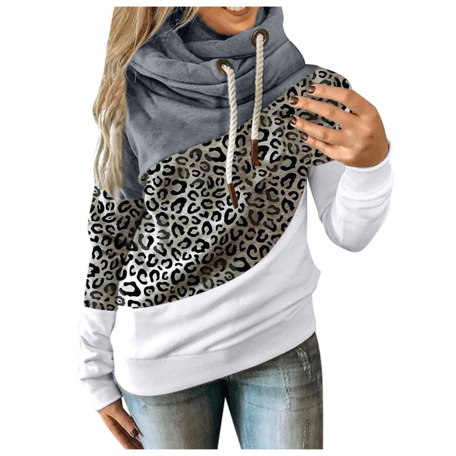 Hot Sale Women Casual Solid Contrast Long Sleeve Hoodie Sweatshirt Patchwork Printed Tops Sudaderas Mujer 2020 F Fast Ship 11