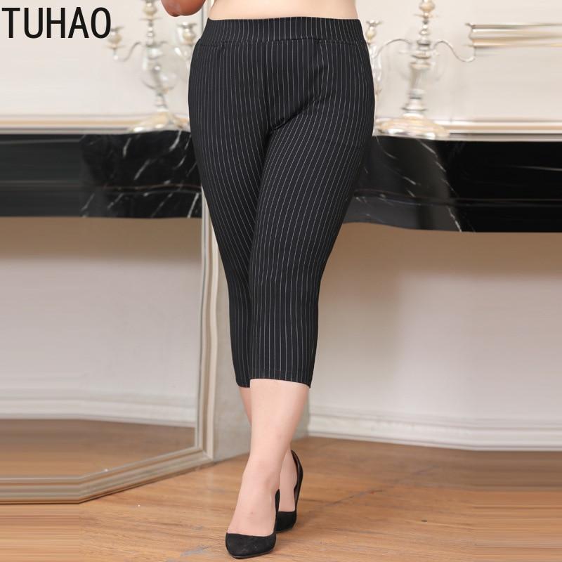 TUHAO Plus Size 10XL 8XL 6XL Women's Capris Summer Pants for Women Pantalon Femme High Waist Black Trousers Pants Women WM09