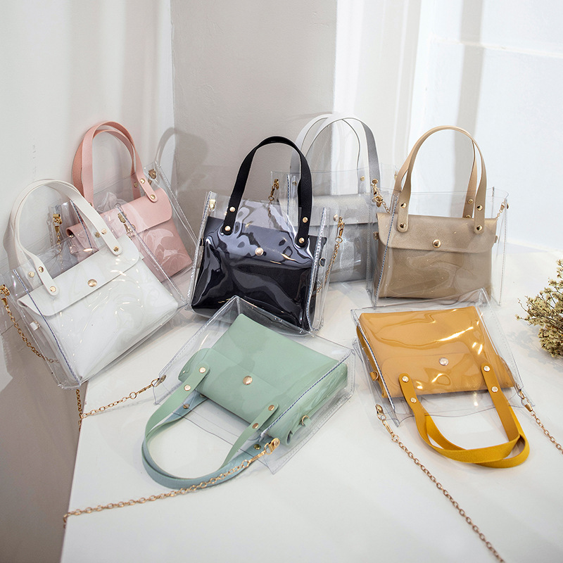 2019 Summer Fashion Women's Bag PU Plus PVC Transparent Bag Mobile Phone Change Shoulder Shoulder Slung Chain Son Bag Bag Tide