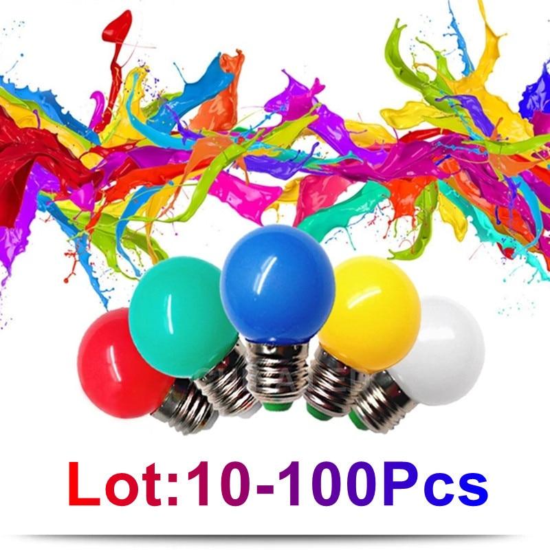 10-100 шт. RGB E27 B22 220v мини светодиодная лампа водостойкая цветная маленькая светильник 5 Вт 7 Вт украшения сада энергосберегающие Точечный свети...