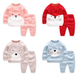 2pcs Baby Boy Set Wool Knitted Cotton Sweater Girls Boys Sets Infant Warm Pullover Pants Suit Newborns Toddler Clothing Sets(China)