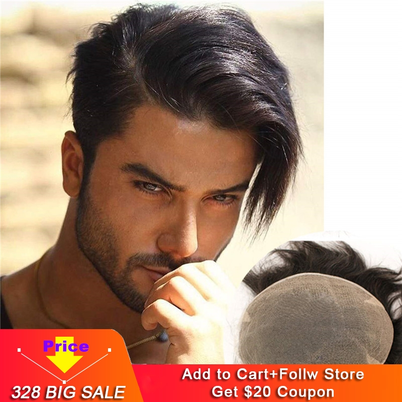 Swiss Full Lace Men's Toupee European Real Human Hair Replacement For Men Hairpiece Natural Black Color 10X8