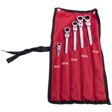 5 pcs Metric Double Box End Ratchet Wrench Set Universal Spline XL Flexible Head