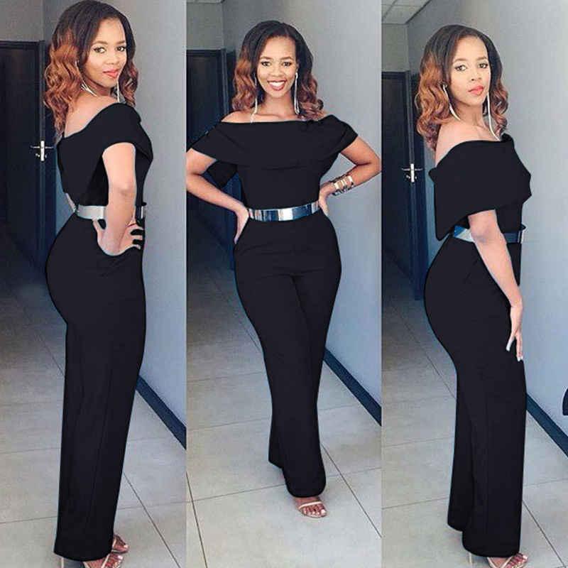 Fashion Women Lady Short Sleeve Off Shoulder Clubwear Playsuit Bodycon Slim Party Jumpsuit Trousers Romper Plus Size Jumpsuits