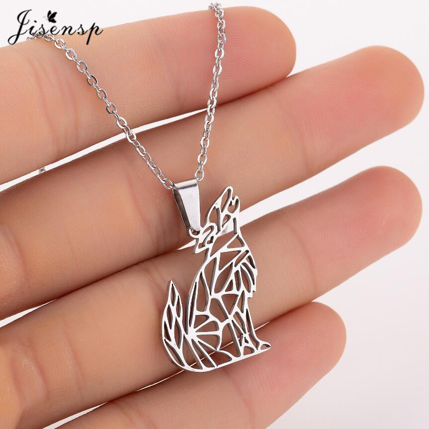 Origami Wolf Animal Pendant Necklace