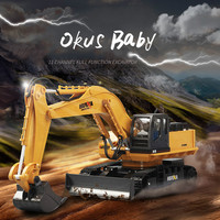 2019 RC Excavator Car 2.4G 11CH Metal Remote Control Engineering Digger Truck Model Electronic Heavy Machinery Toy for Kids
