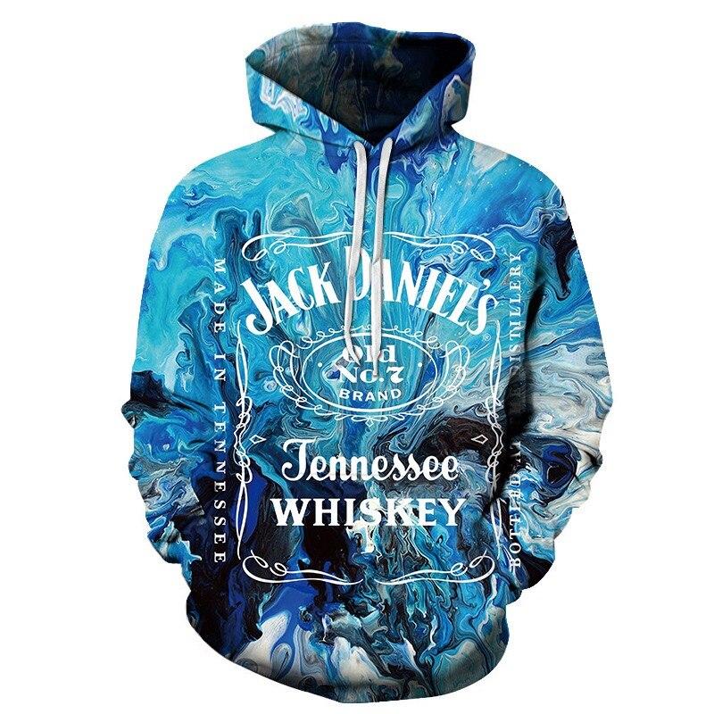 Black Long Sleeves Hoodies Men 2019 3d Printing Jack Daniels Wine Bottle Graphic Design Funny Crewneck Hoodie Sweetshirt Homme