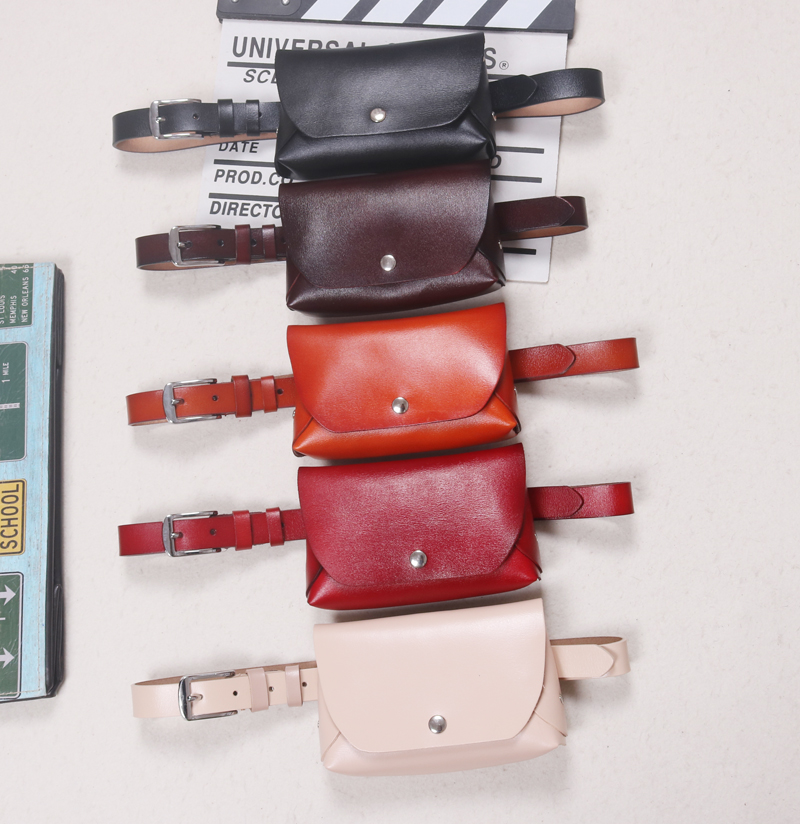 2019 Women Waist Packs Split Leather Solid Flap Envelop Bag For Phone Wallet Pouch Large Size Cow Leather Waist Belt WIth Bag