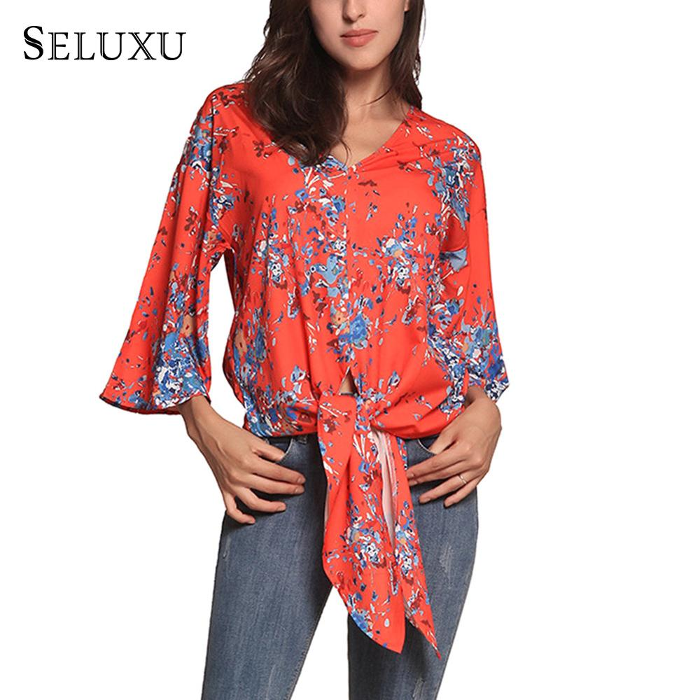 Seluxu 2019 Women Blouse Lantern Sleeve Sashes Long Tops Autumn V-Neck Floral Print