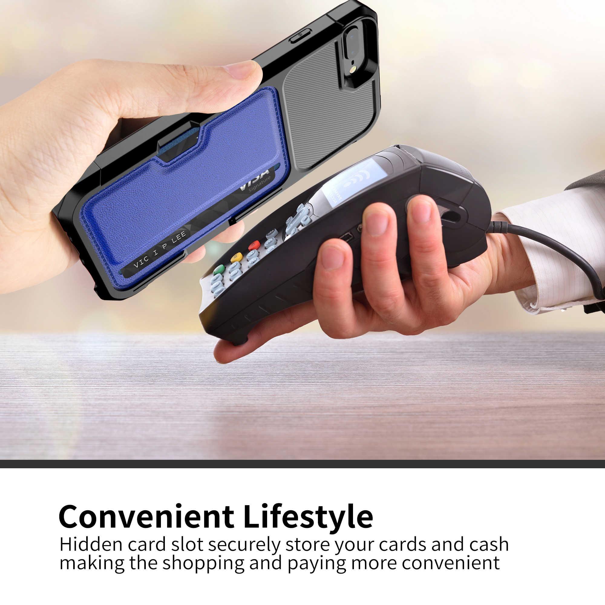 Funda de teléfono móvil magnética para coche con bolsillo para tarjeta para iPhone 6S 7 8 Plus X Xr Xs Max protector antigolpes