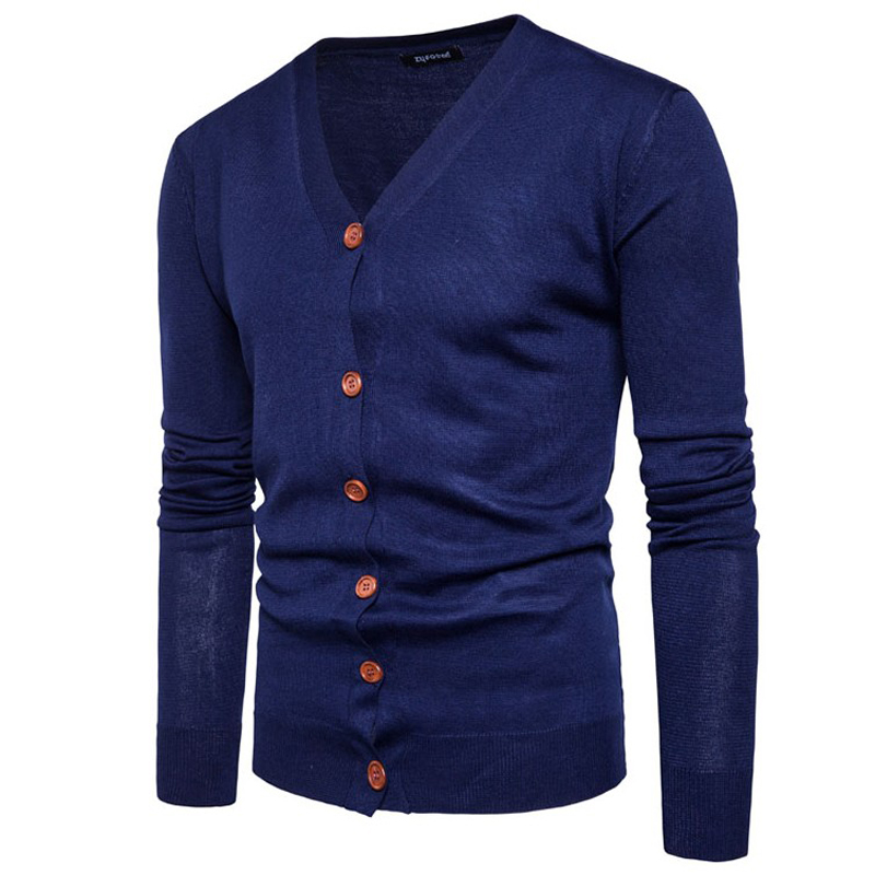 UNIVOS KUNI 2019 Men's Sweater Button Warm knitted Slim Fit Coat Cardigan Dsign Brand Soild Color Male Boys Big Size Clothes