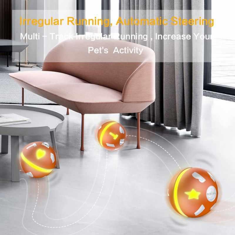 Электрические игрушки для домашних животных умный индукционный управляемый игрушечный мяч для питомца игрушка для кошки активный прыгающий шар usb зарядка светодиодный вращающаяся вспышка Автоматическая игрушка для собак