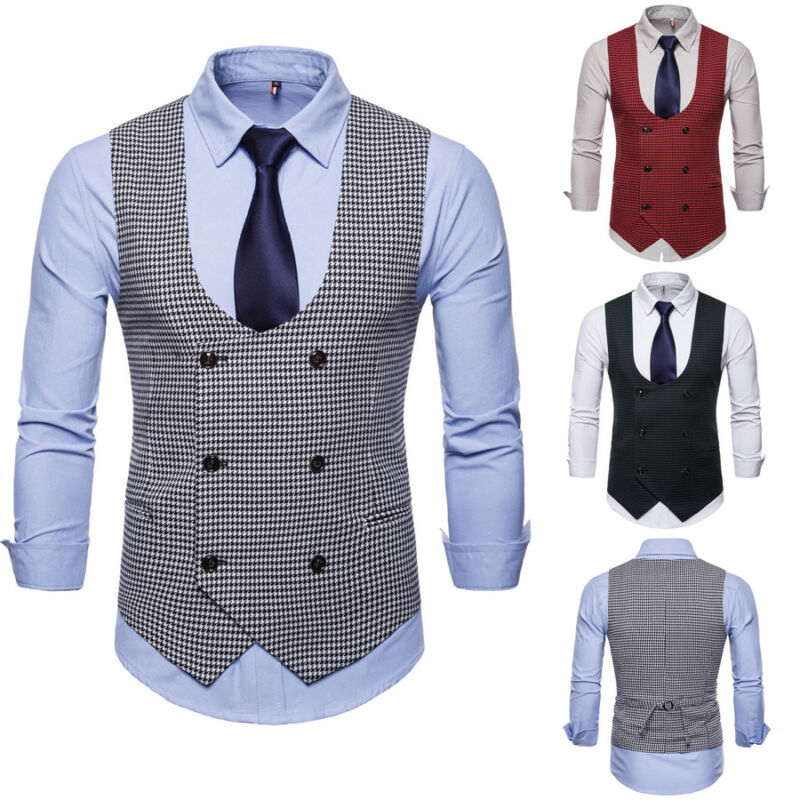 2019 Higirin Men's Formal Wear Gentleman Casual Business Vest Western Decoration Double-breasted Plaid Vest Jacket