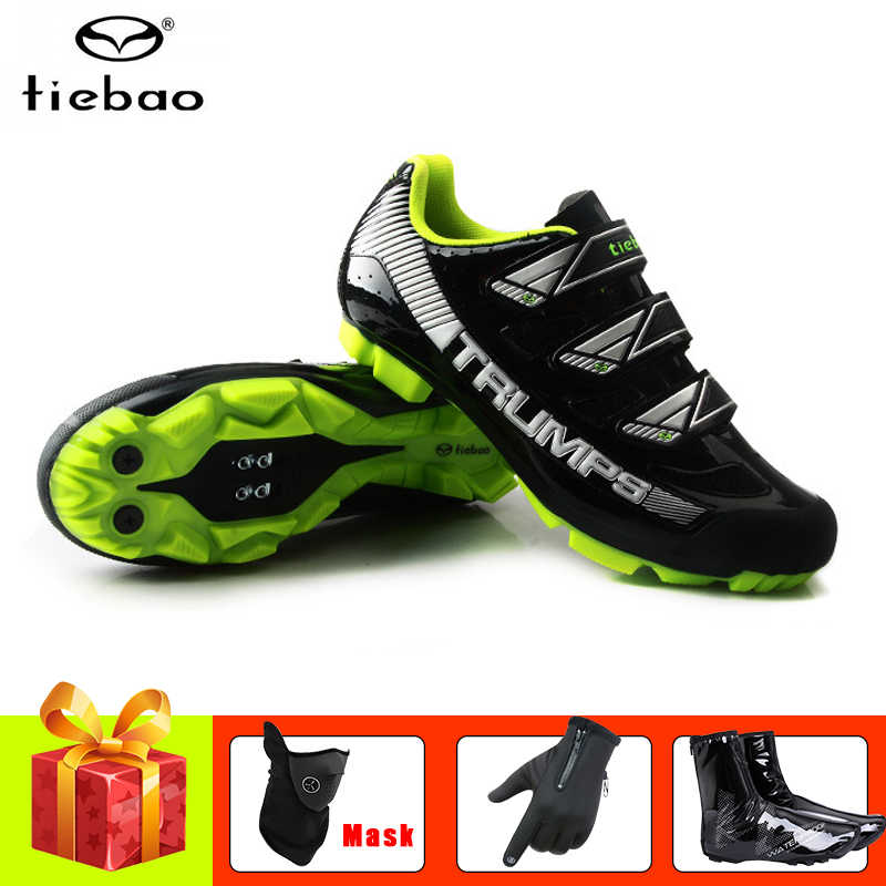 TIEBAO cycling shoes men sapatilha ciclismo mtb bike sneakers cover self-locking breathable mountain bike shoes bicycle gloves