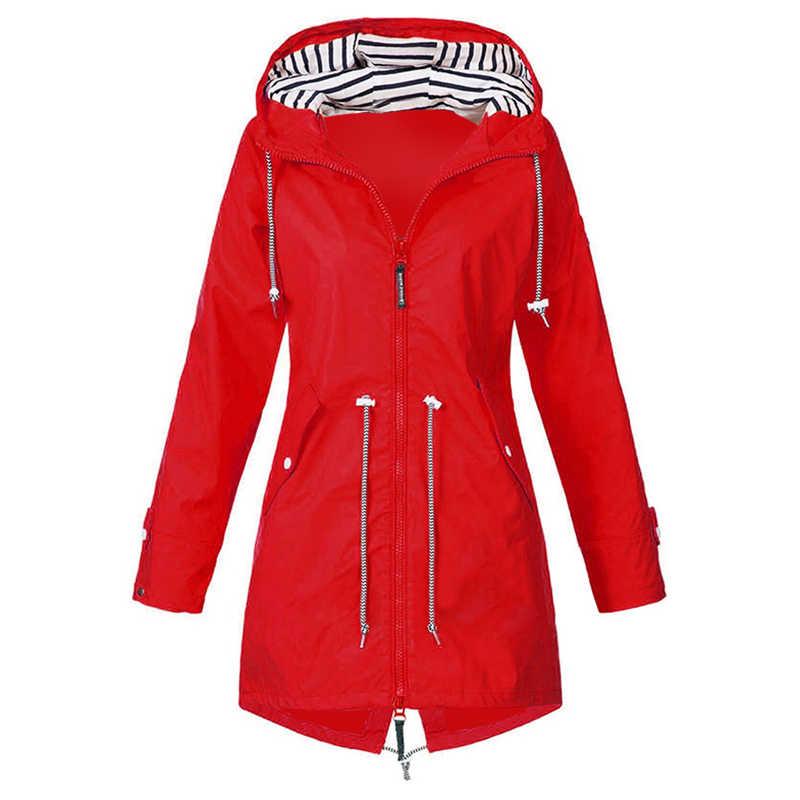 2019 女性のフード付きロングジャケットコートカジュアル防風 Outwears ジッパーパーカースポーツジョギング屋外コート冬カジュアルジャケット