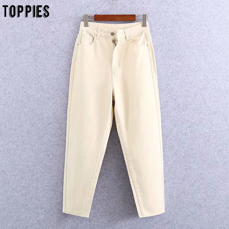 Toppies Beige Jean Pants Women High Waist Denim Harem Pants Leisure Trousers Casual Streetwear
