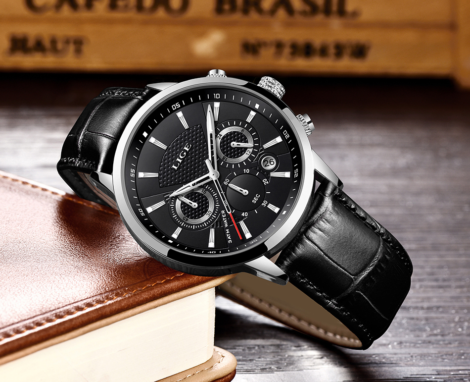 H38c7d9d0929f4fdeb4a8f2e4b2bc5d0fv LIGE New Men Watch Top Brand Blue Leather Chronograph Waterproof Sport Automatic Date Quartz Watches For Mens Relogio Masculino