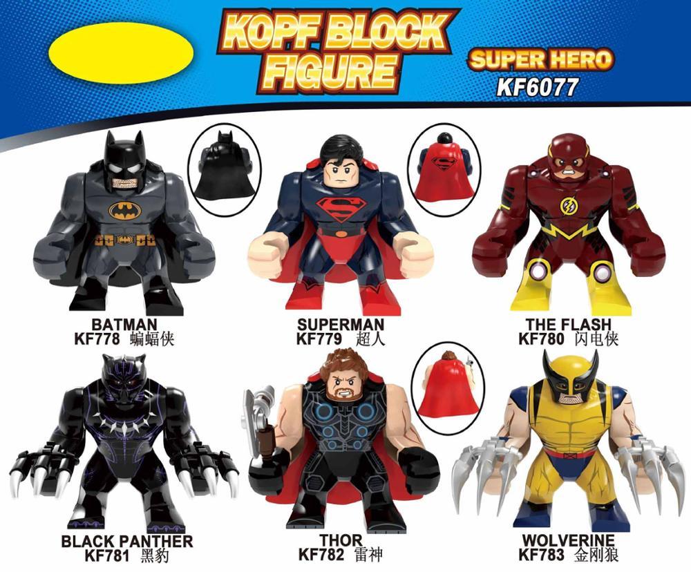 KF6077 Superheroing Legoing Assembling Blocks Batmaning Superman Black Panther Raytheoning Wolverineing Brain Game Children's