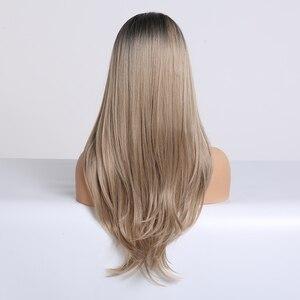 Image 4 - Lange Synthetische Wellenförmige Ombre Hellbraun Mittleren Teil Natürliche Haar Perücken Für Frauen Afrikanische Amerika Wärme Beständig Faser Perücken