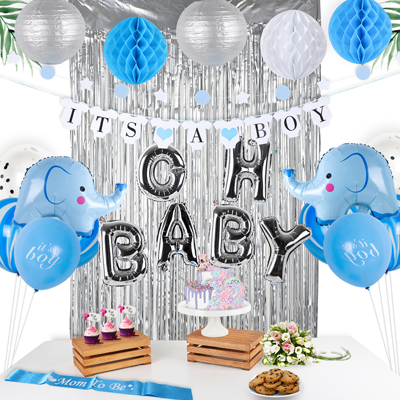 OH BABY foil balloon Baby Shower Decorations for Boy Party Kit Its A Banner Silvery Backdrop Blue Elephant Foil Balloon