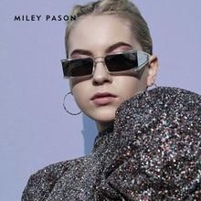 Fashion Rectangle luxury Small Sunglasses Women Mirror Silve