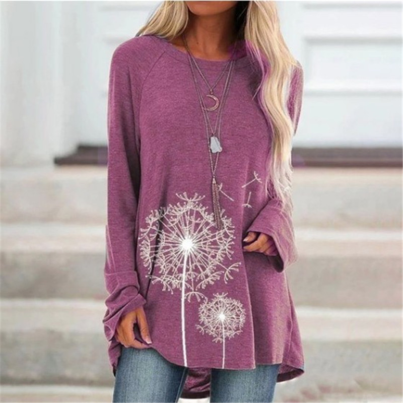 Dandelion Print Tshirt Top Long Sleeve Women Casual Tees Loose O-Neck T-Shirts Large Sizes 5XL Lady Tops Female Clothes 2019