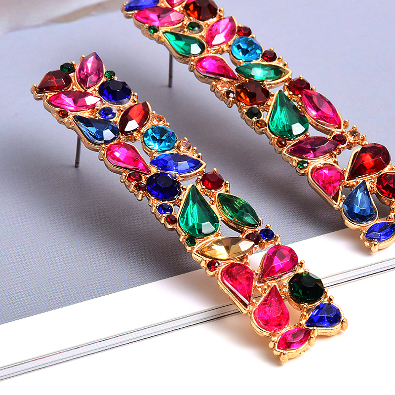 New Rectangle Metal Colorful Rhinestone Long Drop Earrings Studded Full Crystals Fine Jewelry Accessories For Women Wholesale