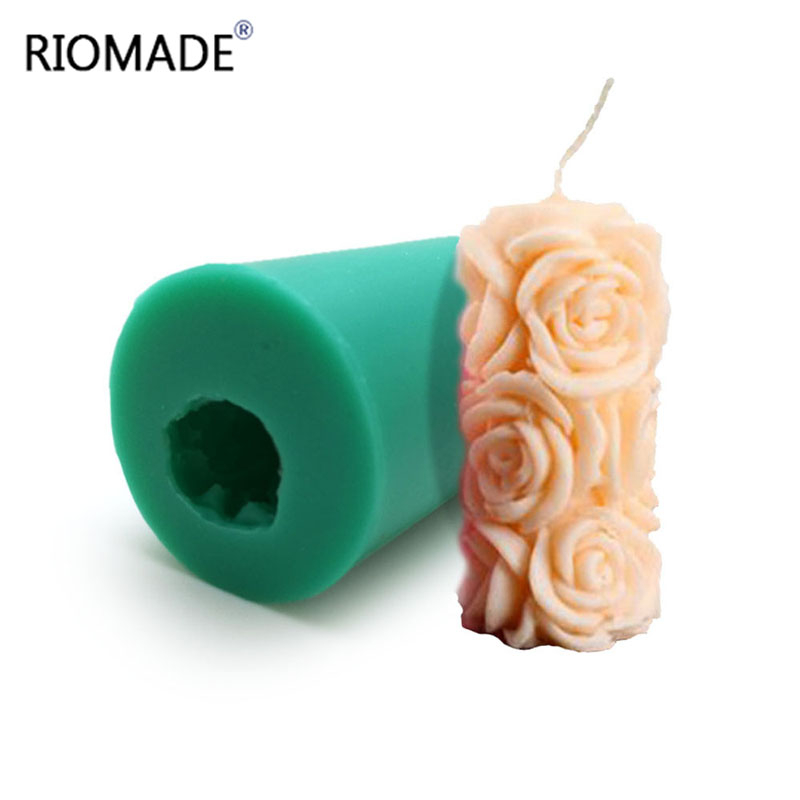 3D Rose Cylindrical Candle Molds Polymer Clay Silicone Mold Pudding Jelly Dessert Chocolate Handmade Mould S0322HM