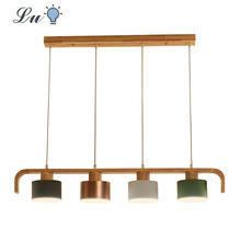 Wood LED Pendant Lights Metal Lamp shade E27 Bedroom Living Room Hanging Lamp Restaurant Kitchen lighting Fixtures Pendant Lamps