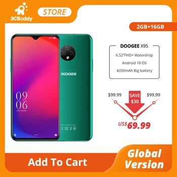 Купить 2020 DOOGEE X95 Android 10 4G-LTE мобильных телефонов 6,52 дюймДисплей MTK6737 16 гб Встроенная память Dual SIM 13MP тройной Камера 4350 ма/ч, Батарея