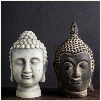 Creative Thailand Buddha Statue Buddha Head Arts Sculpture Cement Crafts Zen Buddha Decorations For Home R3662