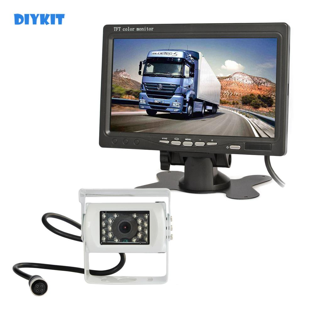 DIYKIT 12V-24V DC 7 TFT LCD Car Monitor + 4pin IR Night Vision CCD Car Camera Rear View System for Bus Houseboat Truck